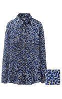 Uniqlo Silk Printed Long Sleeve Blouse - Lyst