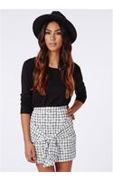 Missguided Rosiee Grid Print Waist Tie Mini Skirt - Lyst
