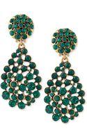 Oscar de la Renta Bold Pear-cut Cluster Drop Clip-on Earrings - Lyst