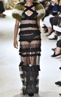 Sonia Rykiel Black Striped Seyes Lace Long Dress - Lyst