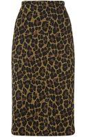 St. John Leopard Knit Pencil Skirt - Lyst