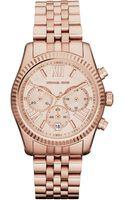Michael Kors Rose Golden Stainless Steel Lexington Chronograph Watch - Lyst