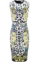 Versace Leopard Print Belted Pencil Dress - Lyst