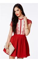 Missguided Arjean Red Eyelash Lace Puff Ball Dress - Lyst