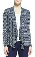 Three Dots Longsleeve Striped Rufflefront Cardigan - Lyst