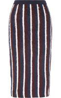 Joseph Striped Brushed Woolblend Midi Skirt - Lyst