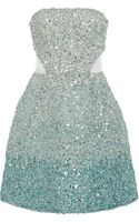 Monique Lhuillier Ombre Ocean Blue Embroidered Strapless Dress - Lyst