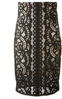 Lover Black Lace Pencil Skirt - Lyst