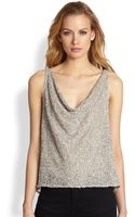 Alice + Olivia Viola Sequin Draped Top - Lyst