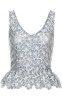 Topshop Lace Scallop Peplum Top - Lyst