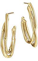 John Hardy 18k Gold Interlocking Bamboo Hoop Earrings Medium - Lyst