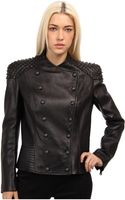 Balmain Leather Jacket with Shoulder Detail - Lyst