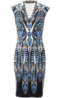 Roberto Cavalli Fitted V-Neck Dress - Lyst