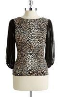 Vince Camuto Petite Leopard Print Blouse - Lyst