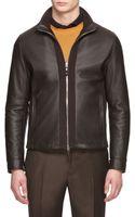 Ermenegildo Zegna Cashmere Lined Leather Jacket - Lyst