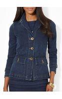 Ralph Lauren Lauren Three Button Denim Jacket - Lyst