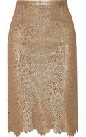Burberry Prorsum Metallic Laceeffect Leather Pencil Skirt - Lyst