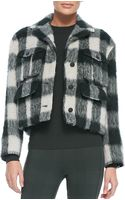 Rag & Bone Louisiana Cropped Fuzzy Plaid Jacket - Lyst