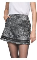 Andrew Marc Leather Trim Distressed Miniskirt - Lyst