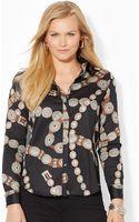 Lauren by Ralph Lauren Patterned Cotton Sateen Shirt - Lyst