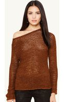 Ralph Lauren Black Label Crocheted Boatneck Sweater - Lyst
