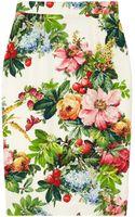 Dolce & Gabbana Printed Stretch Silk Pencil Skirt - Lyst