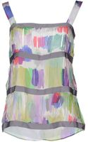 Emporio Armani Sleeveless Printed Silk Top - Lyst