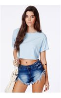 Missguided Milanna Blue Oversized Crop Top - Lyst