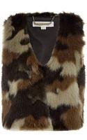 MICHAEL Michael Kors Faux Fur Camouflage Vest - Lyst