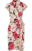 Moschino Cheap & Chic Printed Silk Crepe De Chine Wrap Dress - Lyst