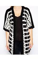 Asos Curve Exclusive Longline Kimono with Graphic Check - Lyst