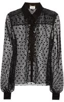 Saint Laurent Ruffled Polkadot Tulle Blouse - Lyst