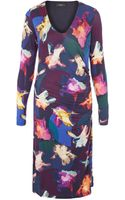 Paul Smith Black Label Purple Floral V Neck Jersey Dress - Lyst