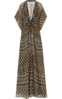 Issa Printed Metallic Silkchiffon Maxi Dress - Lyst