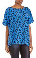 Diane von Furstenberg Blue Printed Silk Blouse - Lyst