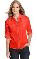 Michael Kors Longsleeve Zipfront Work Shirt - Lyst