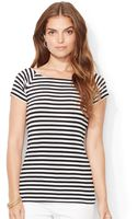 Lauren by Ralph Lauren Petite Short Sleeve Striped Top - Lyst