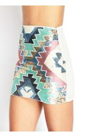Forever 21 Sequined Chiffon Mini Skirt - Lyst