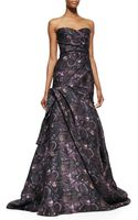 Monique Lhuillier Strapless Floral-print Ball Gown - Lyst