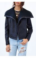 Pins And Needles Knit Collar Vegan Leather Jacket - Lyst