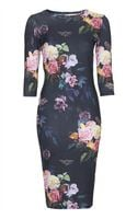 Topshop Womens Blur Rose Print Midi Bodycon Dress  Black - Lyst