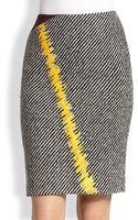 Fendi Leatherstitched Wool Skirt - Lyst