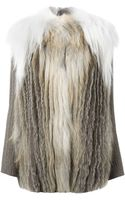 Liska Fur Ribbed Sleeved Coat - Lyst