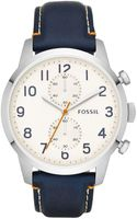 Fossil Mens Chronograph Townsman Navy Leather Strap Watch 44mm - Lyst