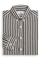 Ami Regular Fit Striped Silk Cotton Dress Shirt - Lyst