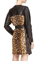 Escada Leather Leopard Trench Coat - Lyst