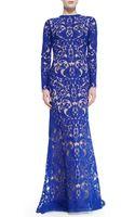 Tadashi Shoji Longsleeve Lace Overlay Gown - Lyst