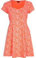 River Island Coral Rose Print Skater Dress - Lyst