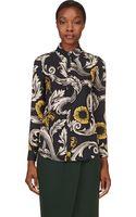 Burberry Prorsum Navy Silk Floral Blouse - Lyst