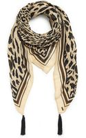 Boss Orange Nellina  Cotton Viscose Blend Leopard Print Scarf with Tassels - Lyst